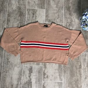 Forever 21 cropped crew neck stripe detail sweater